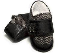 Baby boy wingtip shoe, grey herringbone