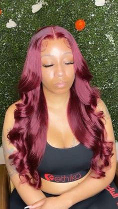 Ombre Wigs, Red Lace, Lace Wigs, Burgundy, Long Hair Styles, Disney Princess, Beauty, Red Ribbon, Long Hairstyle
