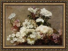 Henri Fantin-Latour White Phlox Summer Chrysanthemum and Larkspur Framed Painting