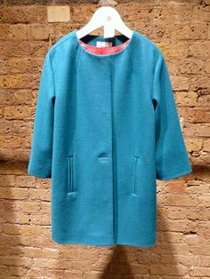 Teal minimal detailed coat for kids fashion at Kin by John Lewis