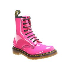 Dr. Martens Fluorescent 8 Eye Boot ($125) ❤ liked on Polyvore featuring shoes, boots, hot pink patent lamper, women, patent leather shoes, 80s boots, dr martens boots, 1980s shoes and patent boots