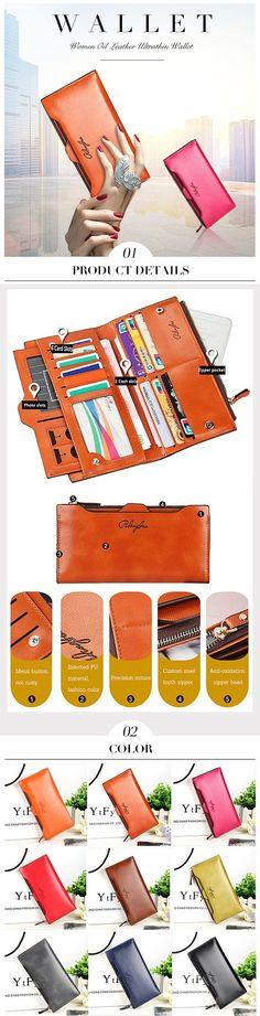 [Special 2 / US$20.98]   Women Oil Leather Ultrathin Wallet Bright PU Leather Purse Wallet