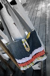 husband's jeans turned girly - ruffle tote tutorial