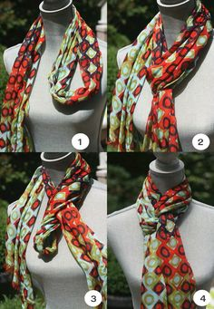 Spartina 449 Modern Lux Squared scarf tied into a Queen's Drape - Spartina available at Walker Boutique!clever scarf tying ideas by serena{Fashion Stylist} 3 Clever Ideas for Scarf Ty ingAdorable and clever way to tie a scarf! I love the detail and t Ways To Tie Scarves, Ways To Wear A Scarf, How To Wear Scarves, Silk Scarves, Look Fashion, Autumn Fashion, Fashion Tips, Fashion Trends, Trendy Fashion