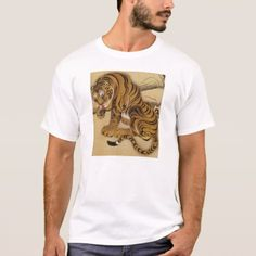 Shop Ito Jakuchu Tiger T-shirt created by VintageSpot. Asian Tigers, Japanese Woodcut, Tiger T Shirt, Bengal Tiger, Fitness Models, Japanese Painting, Animal Paintings, Asian Art, Casual