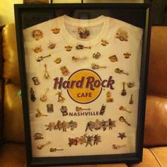 Shadow box I made for my Hard Rock Cafe pin collection. I am pleased with how it turned out.