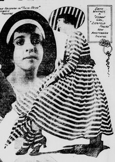 "Miss Edith Whitney, wearing a costume for the 1915 Ziegfeld Follies. She is a ""Zebra Girl"". This has been pinned as everything from a bathing suit to an an afternoon gown. It is a COSTUME!!! Here is an original rotogravure from a 1915 newspaper to prove it! From kittyinva@tumblr.com"