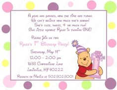 10 Winne the Pooh First Birthday Invitations with by BethCloud723, $7.99