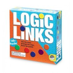 Logic Links Puzzle Box:  Each puzzle is comprised of a series of clues that instruct the player where to place colored chips and solve the puzzle. The box includes 166 puzzles, 32 plastic game chips and instructions. Logic Links requires thinking sideways, backwards, right to left and up and down as players read clues that lead to the one and only correct answer for each puzzle. Ages 6-11.