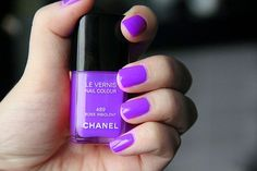 Chanel nail polish in a lovely shade of purple. Too bad a bottle of Chanel nail polish costs over 20 bucks!