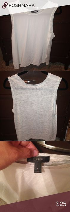 Jcrew top Small jcrew sheer top worn one or two times cute with shelf bra underneath cream and heathered gray J. Crew Tops