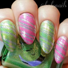IG @babsnails A striping tape mani using Celestial Cosmetics Opie, Adrenalin & Pink Posy