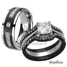 HIS HERS 4 PC BLACK STAINLESS STEEL U0026 TITANIUM WEDDING ENGAGEMENT RING BAND  SET
