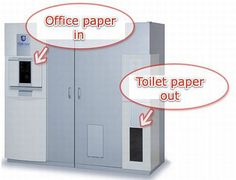 The machine that turns shredded paper to toilet paper by adding water