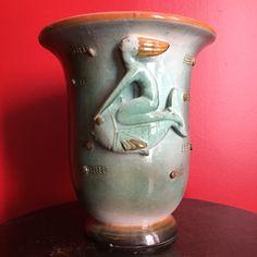 """Vaso con sirena  - Ceramiche Tarcisio Tosin - Manifatture """"La Freccia"""", Vicenza - Italia (anni 1930 - 1940)"""