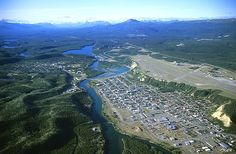 Lived here for four years, my Dad was a weather forecaster at the airport (on top of the ridge to the right of the photo) and we lived in Valleyview near by - Lyn M. Whitehorse ~ Yukon River, view is to east. Whitehorse airport at right center. Yukon Canada, O Canada, Canada Travel, Vacation Trips, Vacations, Yukon River, Meanwhile In Canada, Alaska Highway, Yukon Territory