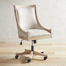 Devon Flax Desk Chair with Stonewash Wood