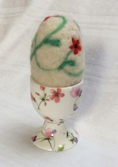 Floral Needlefelted Egg and China Egg cup.Home by KnitwitDesignsUK