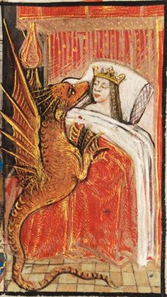 Bad dragon, you know you are not allowed to sleep on the bed. Peniarth MS 481D – from National Library of Wales