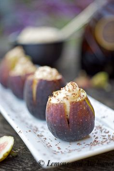 Chocolate Mascarpone Stuffed Fresh Figs by Lemons and Anchovies Fig Recipes, Dessert Recipes, Cooking Recipes, Healthy Recipes, Brunch, Delicious Desserts, Yummy Food, Fresh Figs, Fresh Fruit