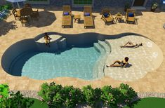 wohnideen Thursday Pools : Sandal Beach Entry 39 Pool Model Landscaping Ideas for Your Home o what i Small Backyard Pools, Backyard Pool Landscaping, Backyard Pool Designs, Small Pools, Swimming Pools Backyard, Swimming Pool Designs, Outdoor Pool, Landscaping Design, Backyard Lazy River