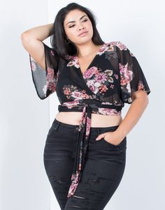 We know you will become obsessed with our Plus Size Dreamy Floral Crop Top perfect for every fun weekend outing because of its' pretty colorful floral print! This women's floral mesh crop top features a plunging wrapped v-neck, breezy short sleeves, keyhole wrapped back construction, and playful ties that wrap around the body. Feel cool and lightweight in this sheer and breathable mesh fabric that is full of stretch. Hit the streets in style in our classic black and must-have merlot colors… Crop Top Outfits, Casual Fall Outfits, Trendy Outfits, Plus Size Womens Clothing, Plus Size Outfits, Plus Size Fashion, Curvy Fashion, Floral Crop Tops, Black Crop Tops