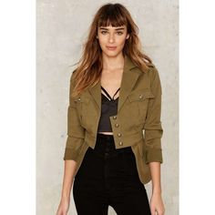 Nasty Gal Collection Commander Military Jacket ($118) ❤ liked on Polyvore featuring outerwear, jackets, black, army jackets, field jacket, cinch jackets, military jacket and nasty gal