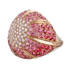 DAMIANI Pink Sapphire and Diamond Dome Ring | From a unique collection of vintage dome rings