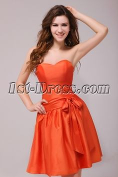 Simple Orange Sweetheart Short Homecoming Dress Discount