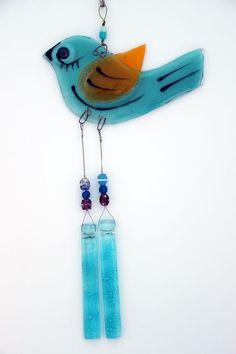 Fused Glass Bird  Windchime Suncatcher by virtulyglass on Etsy
