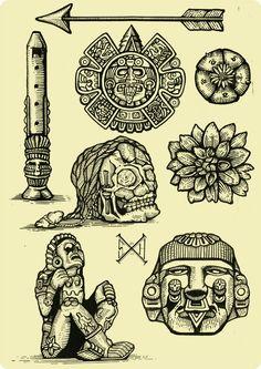 Mayan Tattoos, Mexican Art Tattoos, Simbolos Tattoo, Inca Tattoo, Filigrana Tattoo, Aztec Tattoos Sleeve, Aztec Drawing, Aztecas Art, Aztec Tattoo Designs