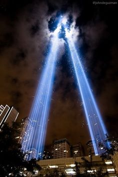 "Ground Zero ""Memorial in Light""  NEVER FORGET  NEVER FORGIVE  NEVER SURRENDER  AMERICA FOREVER"