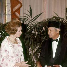 Indonesian President Suharto with Queen fabiola of Belgium during his visit in Belgium, 1972