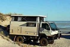 The Mitsubishi Fuso FG is a popular choice as the chassis for an expedition camper. Carl Hunter's expedition camper, a Bigfoot travel trailer mounted. Expedition Trailer, Overland Trailer, Expedition Vehicle, Adventure Campers, Off Road Adventure, Truck Camper, Camper Van, Rv Campers, Off Road Camping
