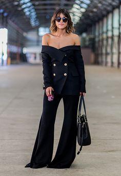 Social media guru Marissa Karagiorgos made off-the-shoulder work for tailoring, giving chic-as workwear vibes
