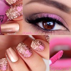 Gorgeous pink and gold nails For more wedding and fashion inspiration visit www.finditforweddings.com Nail Art Eyes