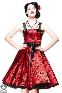 Hell Bunny Tattoo Flocked (Red) Dress - Buy Online Australia Beserk