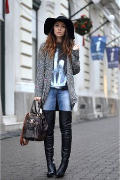 Discover this look wearing Black Over The Knee Mono Shoes Boots, Black Poppy Lovers Ts, Shirts - Facing the cold season by styled for Bohemian, Everyday in the Winter Blue Skinny Jeans, Shades Of Blue, 50 Shades, Beautiful Legs, Wearing Black, Fashion Boots, Black Boots, Heeled Boots, Autumn Fashion