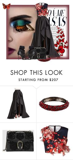 """""""The beautiful set- Butterfly"""" by anabosotina ❤ liked on Polyvore featuring Monique Lhuillier, Kenneth Jay Lane, Gucci, Clover Canyon, Dsquared2 and butterfly"""