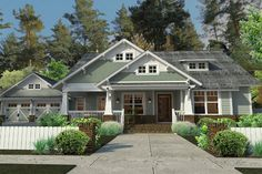 Cottage Craftsman Farmhouse House Plan 75137 Elevation - 1879 sq ft, 1 story, 3 bedroom with study. Craftsman Farmhouse, Craftsman Style House Plans, Modern Farmhouse Plans, Cottage House Plans, Cottage Homes, Craftsman Exterior, Craftsman Homes, Farmhouse Style, Farmhouse Front
