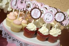 DIY Monkey Baby  Girl  Party  PRINTABLE Cupcake Toppers favor tags Pink Brown  baby shower  We also Print them - Cupcake Express. $10.00, via Etsy.
