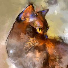 ABOUT THIS ARTWORK Elli, a brown Burmese cat. I love the way she's holding her head, the look in her eye and the colours in her coat.  Type: Print Medium: Giclée Materials: Gicleé print; archival inks on 19x13 inch heavyweight fine art paper 18.9 × 12.99 × 0.08 in (unframed) / 11.81 × 11.81 in (actual image size) This artwork is sold unframed From a limited edition of 100 Signed and numbered by the artist on the front