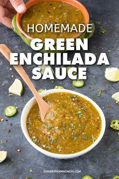 Homemade Green Enchilada Sauce with Roasted Tomatillos - Get your enchiladas ready with this homemade green enchilada sauce recipe made with fresh tomatillos jalapenos serranos and poblano peppers from scratch in your own kitchen. Recipes With Enchilada Sauce, Green Enchilada Sauce, Homemade Enchilada Sauce, Spicy Recipes, Mexican Food Recipes, Cooking Recipes, Ethnic Recipes, Carnitas, Sauces