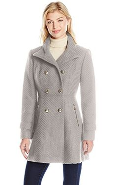 Jessica Simpson Women's Military Fit and Flair Wool Coat, Grey, M ❤ Jessica Simpson Outerwear