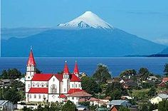 Puerto Varas church and volcano, Chile: Seven Spectacular Bus Routes Through South America: BootsnAll article by Simone Cannon Hotel Cabanas, Peru, Southern Cone, South America Map, Latin America, Tourist Places, Adventure Tours, Most Beautiful Cities, Kirchen