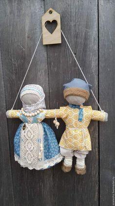 """Народные куклы ручной работы. Ярмарка Мастеров - ручная работа. Купить Оберег """"Неразлучники"""". Handmade. Комбинированный, желтый, оберег в подарок"""