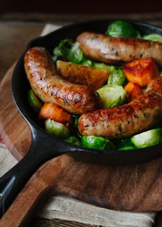 Roasted Chicken Sausages with Brussels Sprouts, Fennel and Potatoes