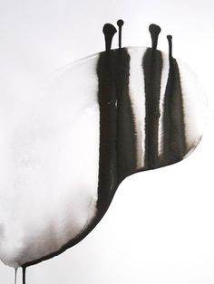 Meditative Modern Fine Art Abstract Zen Ink Wash by Manjuzaka (SOLD)