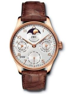 IWC The Portuguese Perpetual Calendar in 18k rose gold with brown crocodile leather strap. Available at London Jewelers.
