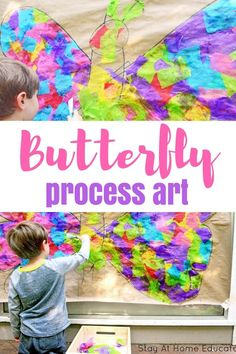 Engage Your Preschooler's Creativity with Butterfly Collage Art for Kids | process art ideas | bugs and butterfly theme  #kidsactivities #preschool #spring